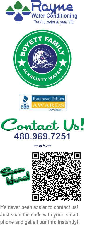 it's never been easier to contact us about clean drinking water, water softening and water conditioning! BBB Better business bureau ethics awards finalist. Call 480-969-7251 or use your smart phone to scane our QR code and instantly download all our contact info to your phone